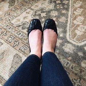 Audrey Brooke Black Leather Ballet Flat